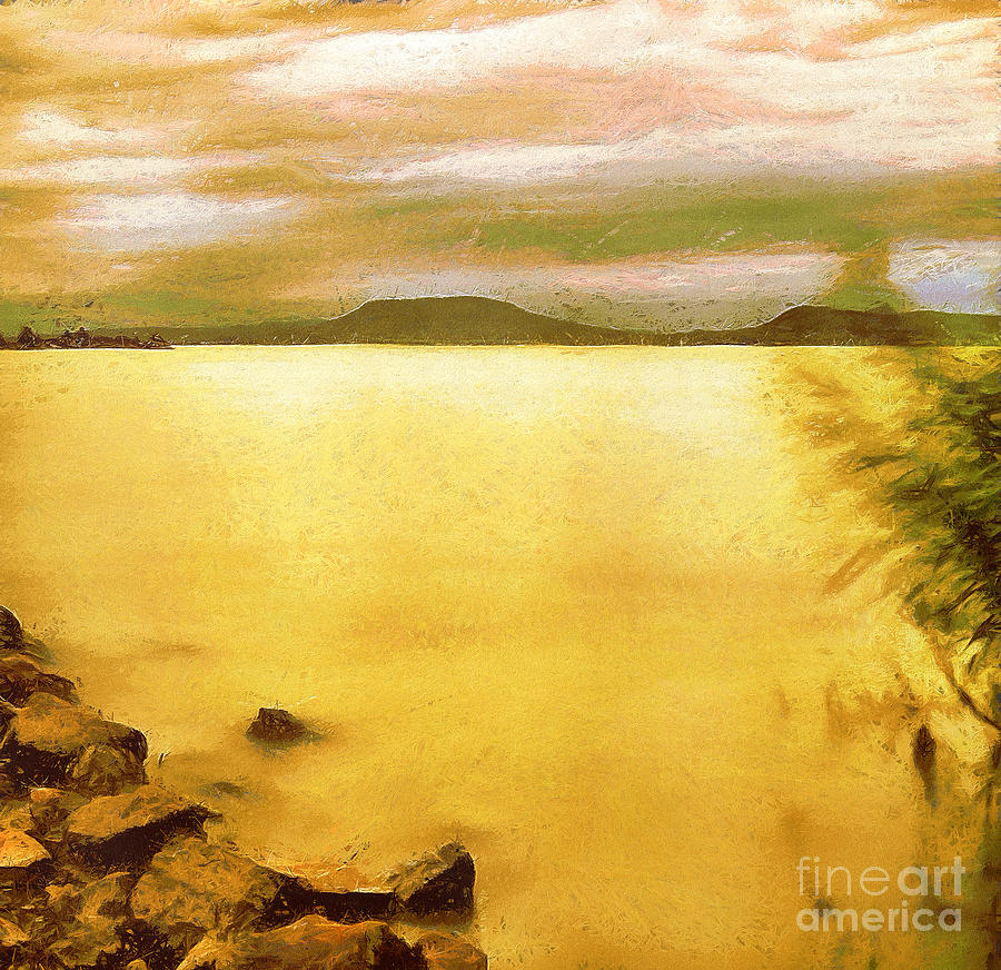 Background Painting - Balaton Landscape by Odon Czintos