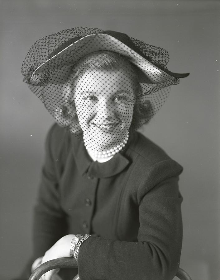 Barbara Bel Geddes Wearing A Peaked Hat With Veil Photograph by Richard Rutledge
