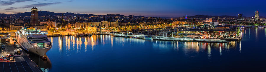 Barcelona Pyrography - Barcelona - Harbour At Night Panorama by Jean Claude Castor