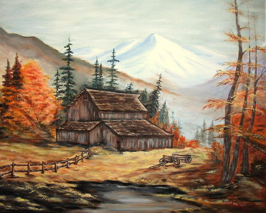 Landscape Painting - Barn and wagon by Kenneth LePoidevin