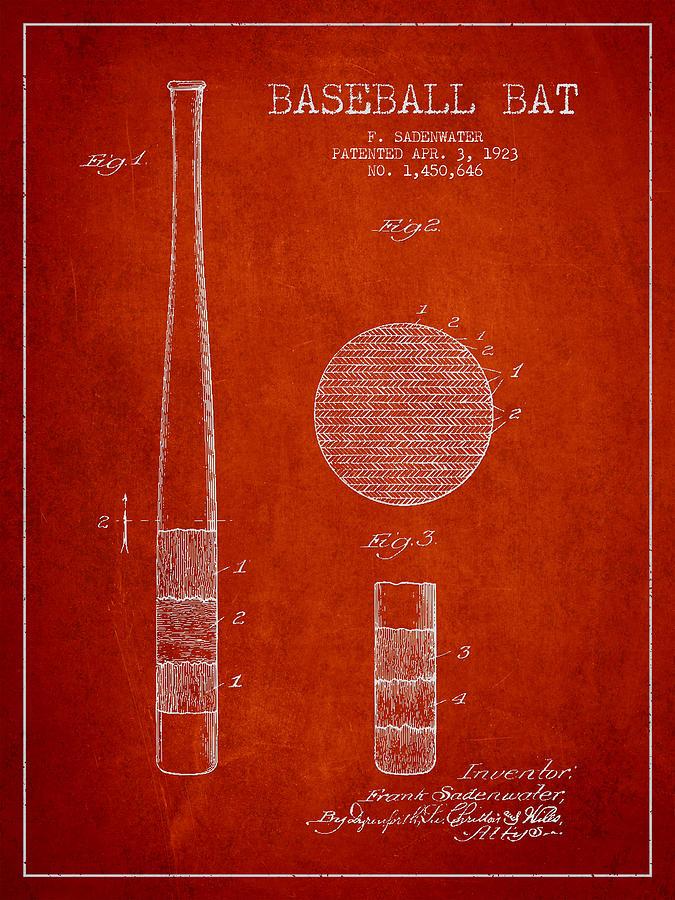 Baseball Bat Digital Art - Baseball Bat Patent Drawing From 1923 by Aged Pixel