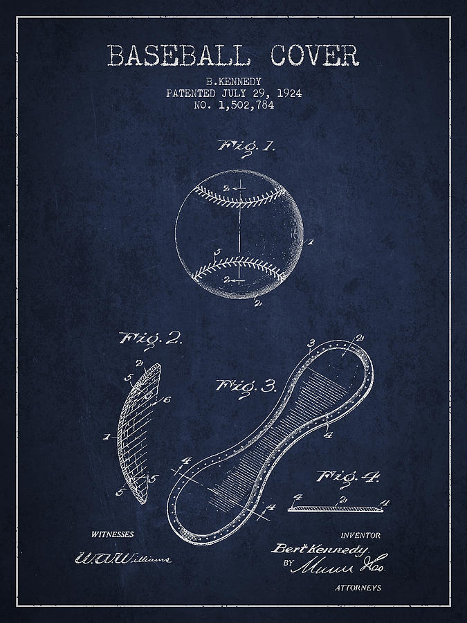 Baseball Patent Digital Art - Baseball Cover Patent Drawing From 1924 by Aged Pixel