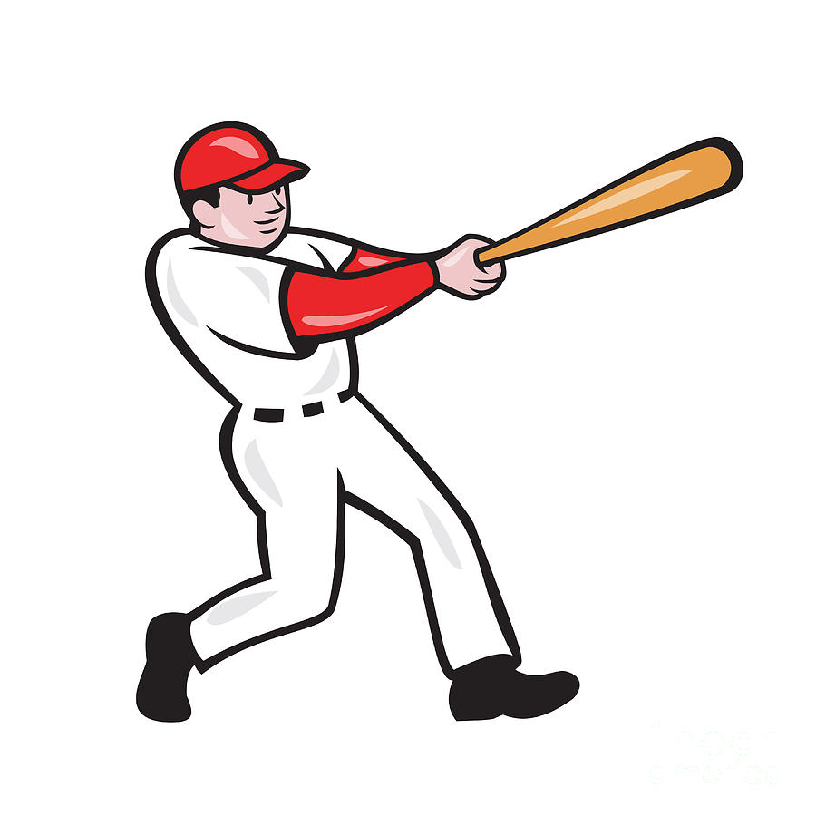 Baseball Player Batting Isolated Cartoon Digital Art By