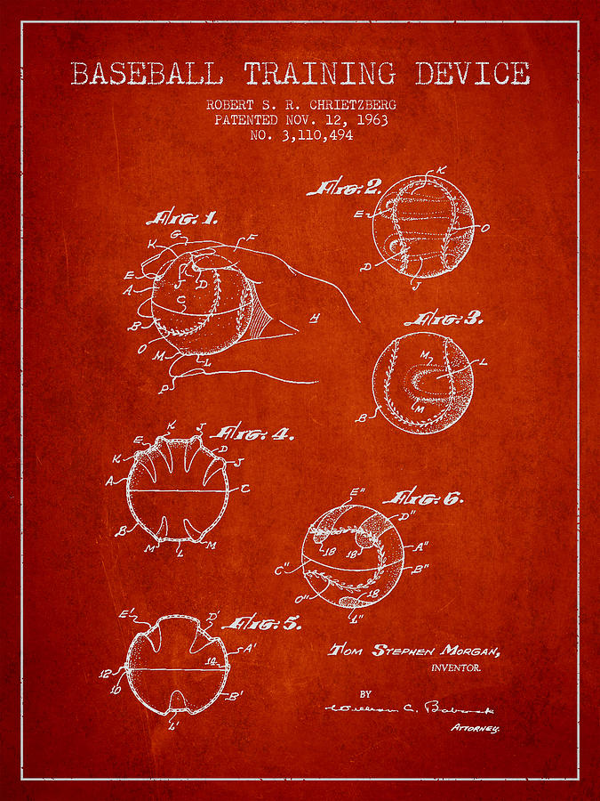 Baseball Patent Digital Art - Baseball Training Device Patent Drawing From 1963 by Aged Pixel