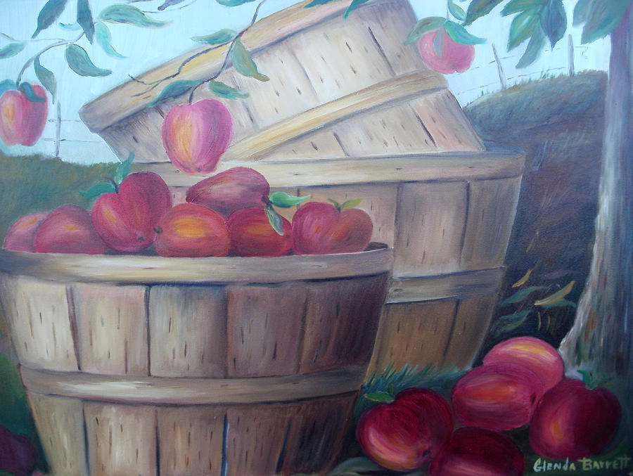 Original Painting - Baskets Of Apples by Glenda Barrett