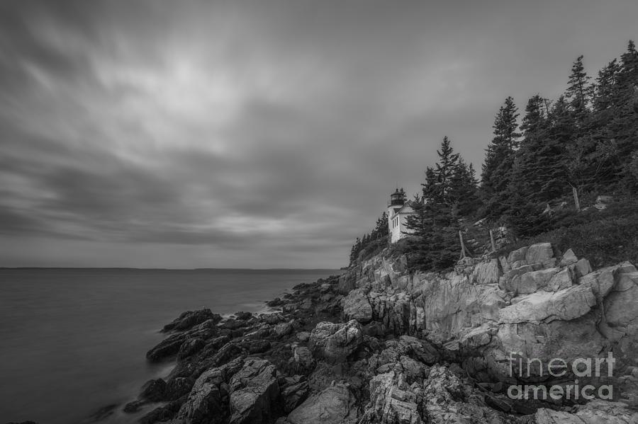 Bass Harbor Head Lighthouse Bw Photograph
