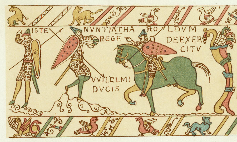 Norman Drawing - Battle Of Hastings A Sentinel Tells by Mary Evans Picture Library