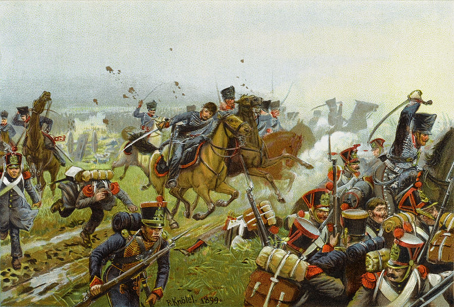 Battle Of Leipzig The Charge Of The Drawing By Mary Evans Picture Library