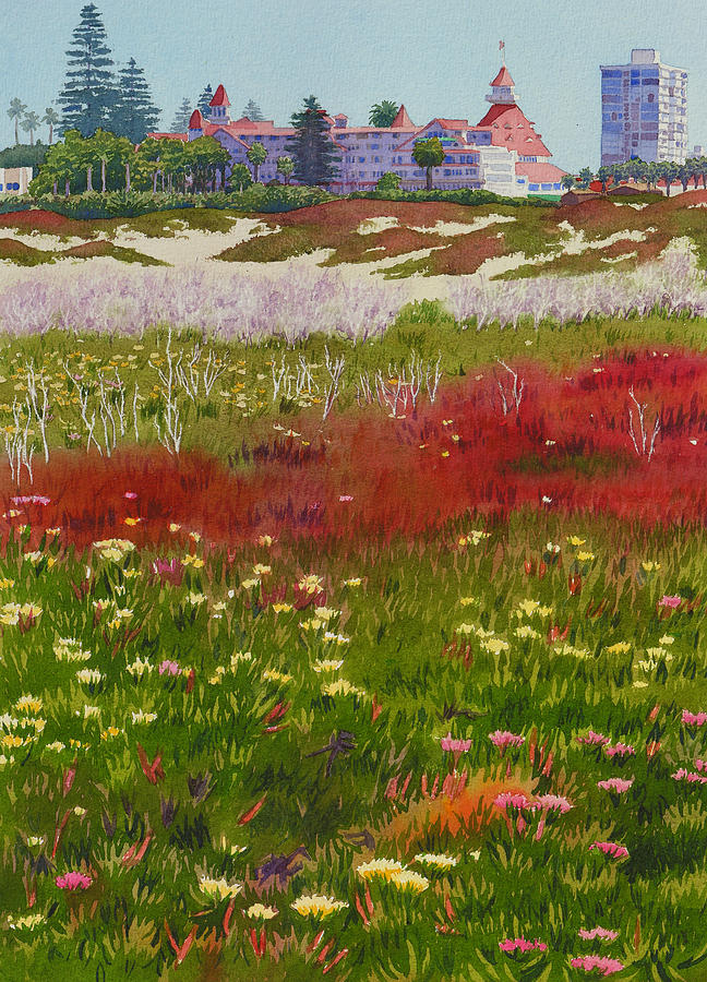 Landscape Painting - Beach Flowers At The Del by Mary Helmreich
