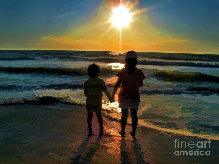 Ocean Sunset With Kids Digital Art - Beach Kids by Margie Chapman