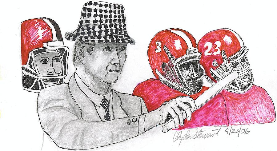 Drawing - Bear Bryant by Clyde  Stewart