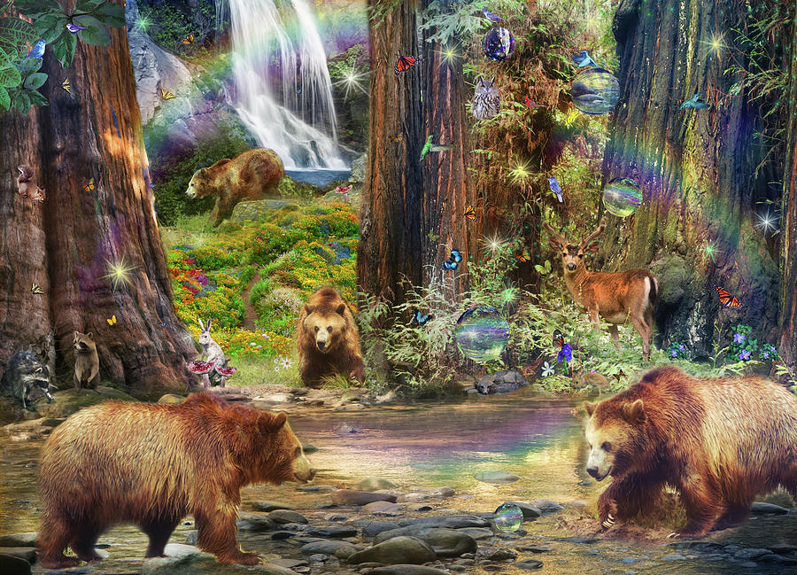 Bear Forest Magical Drawing by Alixandra Mullins