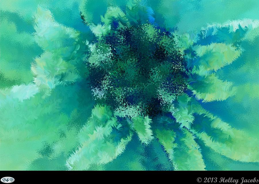 Abstract Digital Art - Beast Of Burden Teal by Holley Jacobs