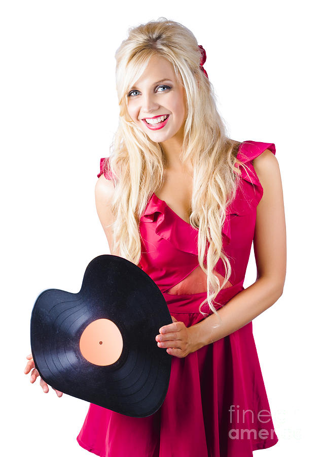 Background Photograph - Beautiful Blonde With Heart-shaped Record by Jorgo Photography - Wall Art Gallery