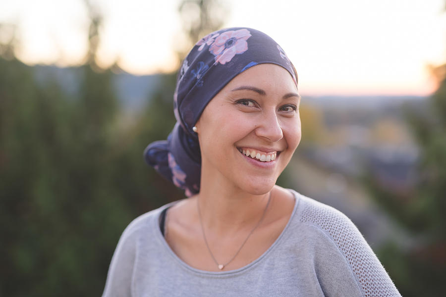 Beautiful Ethnic Woman with Cancer Smiles Photograph by FatCamera