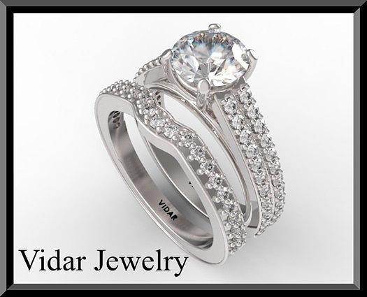 Gemstone Jewelry - Beautiful Moissanite And Diamond 14k White Gold Wedding Ring Set by Roi Avidar