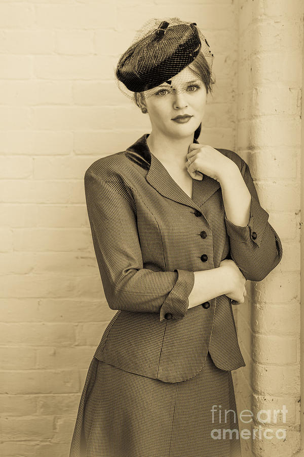 Beautiful Woman In Vintage Forties Clothing Photograph