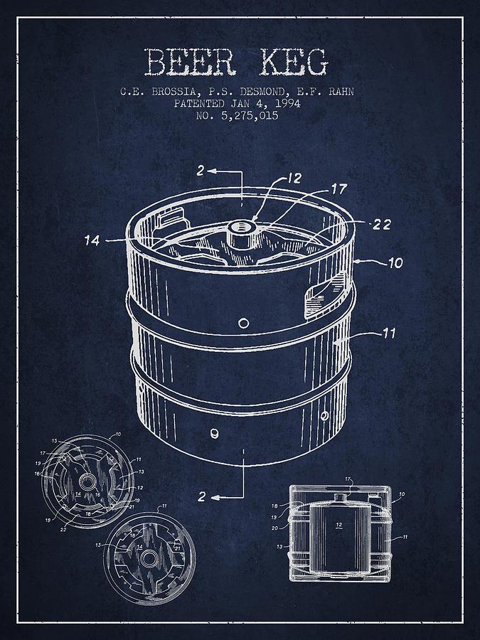 Beer Keg Patent Drawing - Green Digital Art