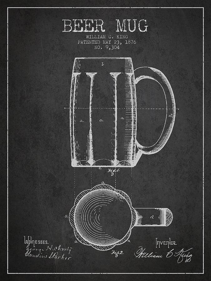 Beer Mug Digital Art - Beer Mug Patent From 1876 - Dark by Aged Pixel