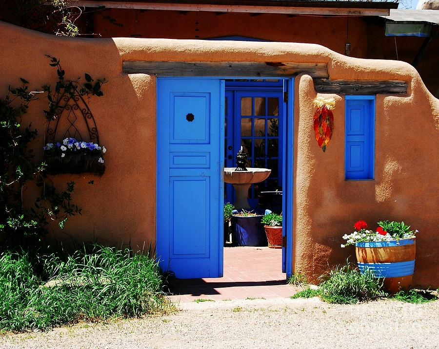 Taos New Mexico Photograph - Behind A Blue Door 1 by Mel Steinhauer