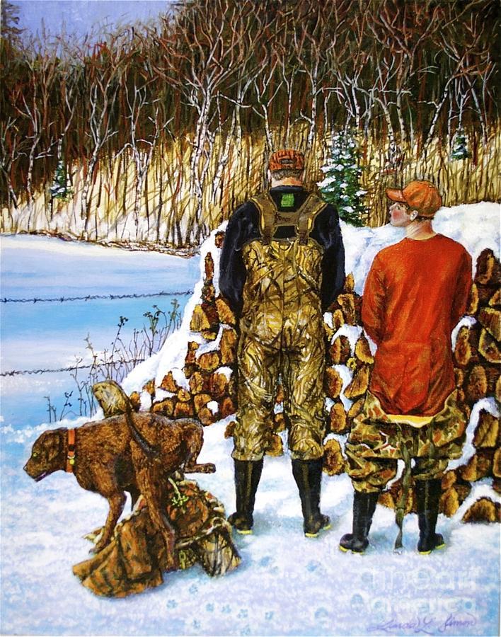 Linda Simon Painting - Behind The Wood Pile    by Linda Simon