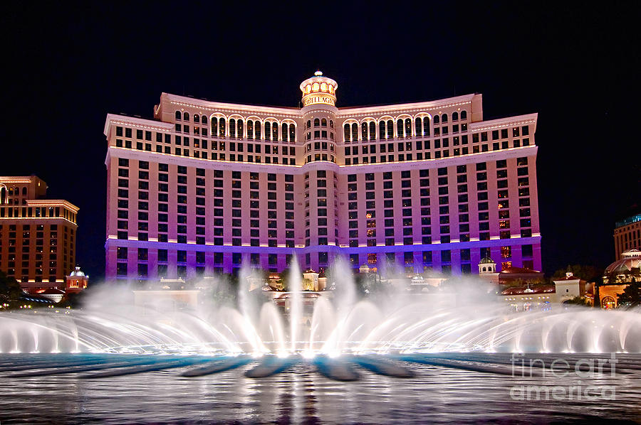 Bellagio Photograph - Bellagio Hotel And Casino At Night by Jamie Pham