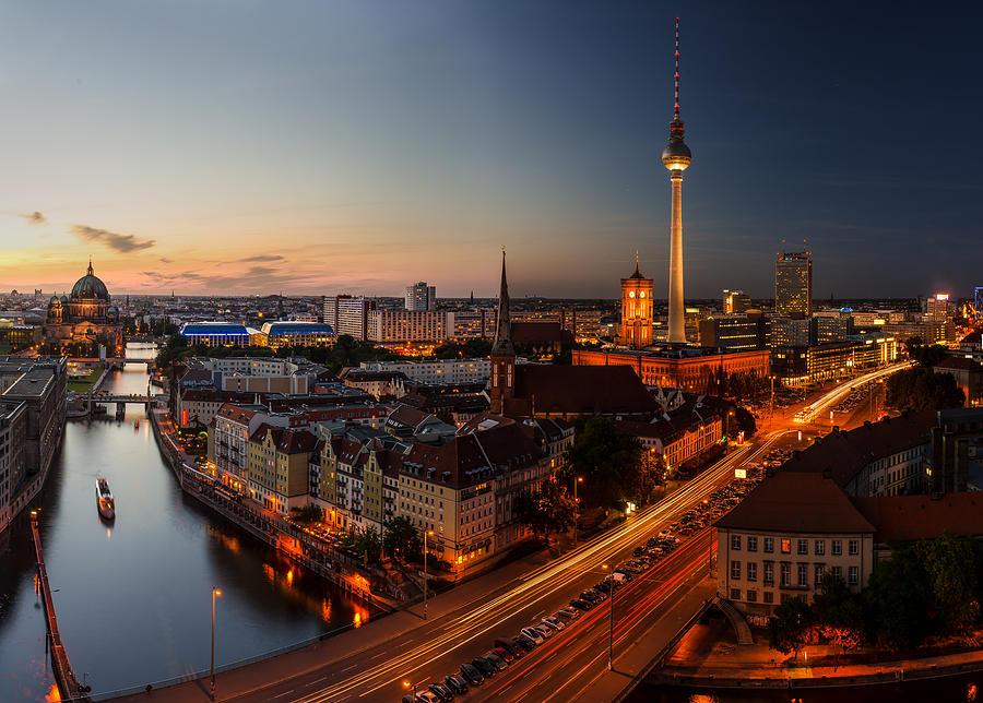Berlin Pyrography - Berlin Skyline Panorama  by Jean Claude Castor