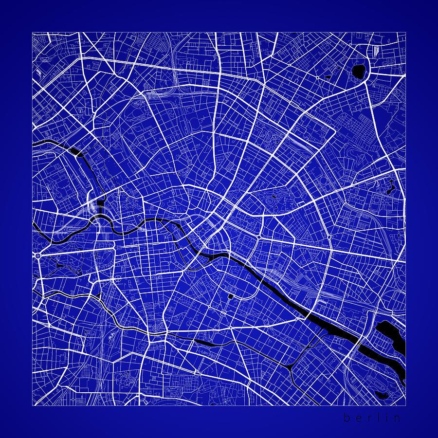 Berlin Street Map - Berlin Germany Road Map Art On Color Digital Art ...