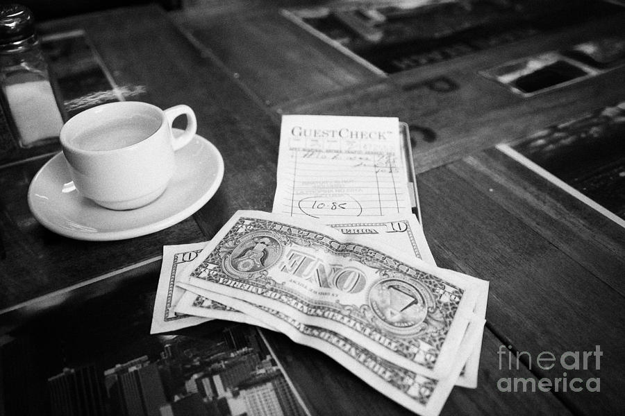 Bill With Cash And Tip In A Cuban Restaurant Miami South Beach Florida Usa By Joe Fox