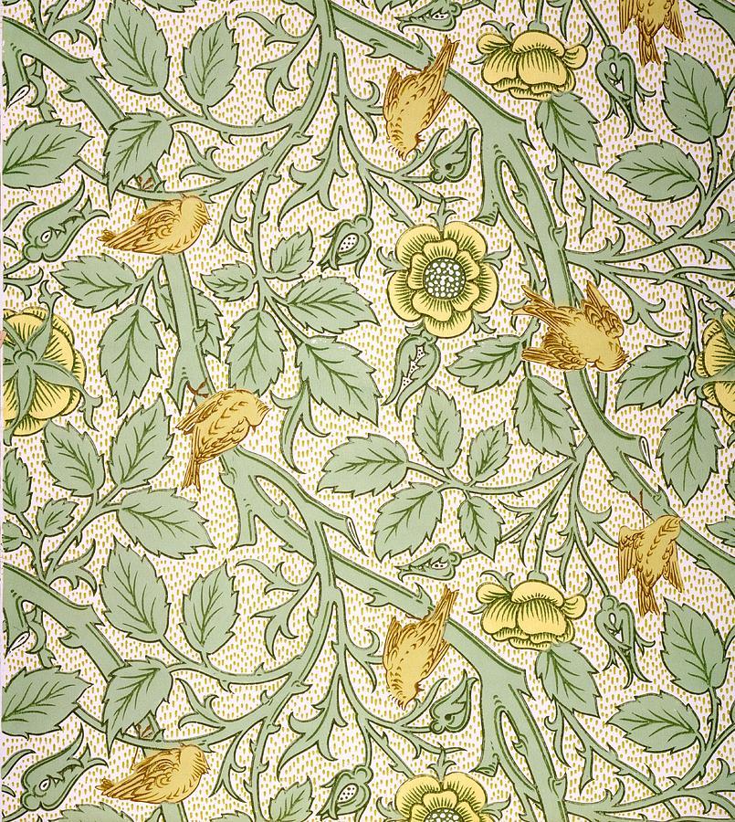 Wallpaper Drawing - Bird Wallpaper Design by William Morris