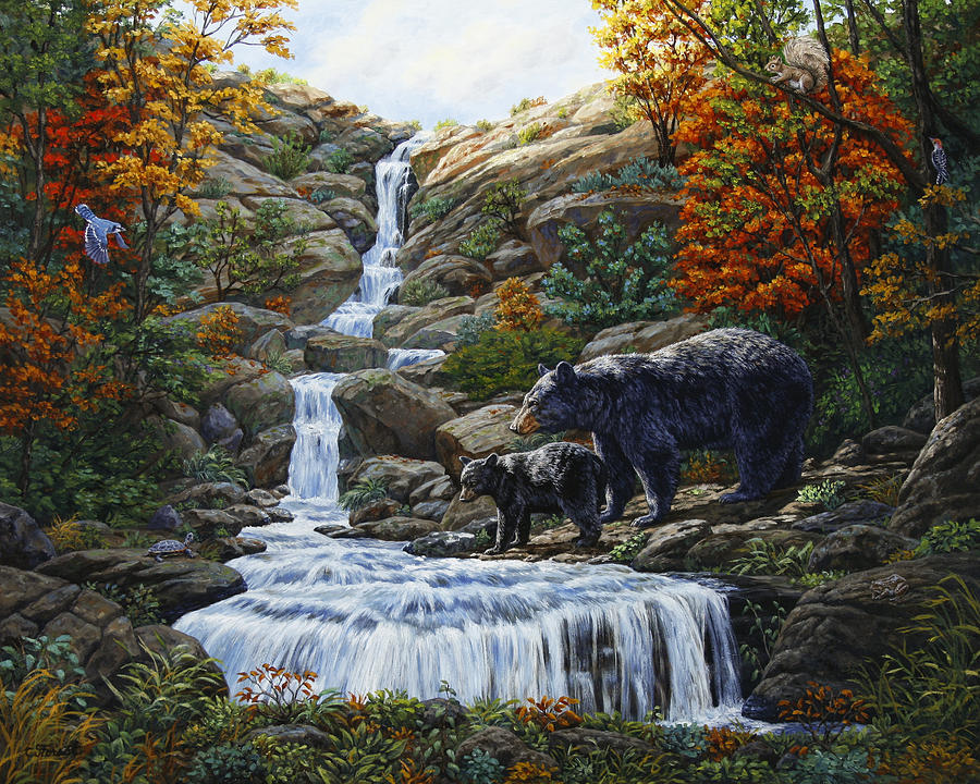 Bear Painting - Black Bear Falls by Crista Forest