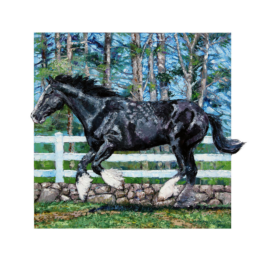 Horse Painting - Black Power by John Lautermilch