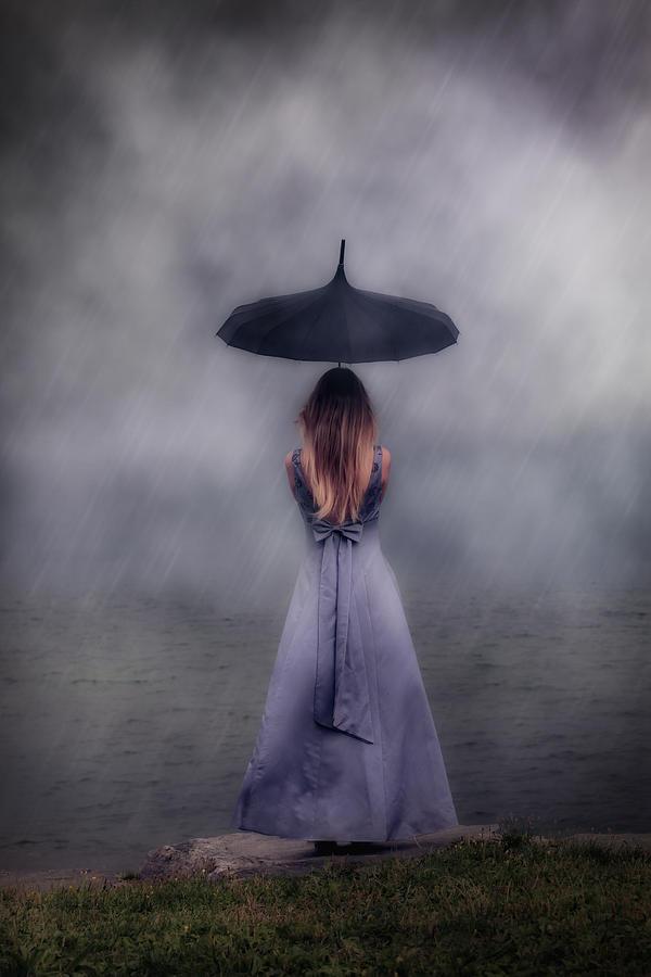 Girl Photograph - Black Umbrella by Joana Kruse