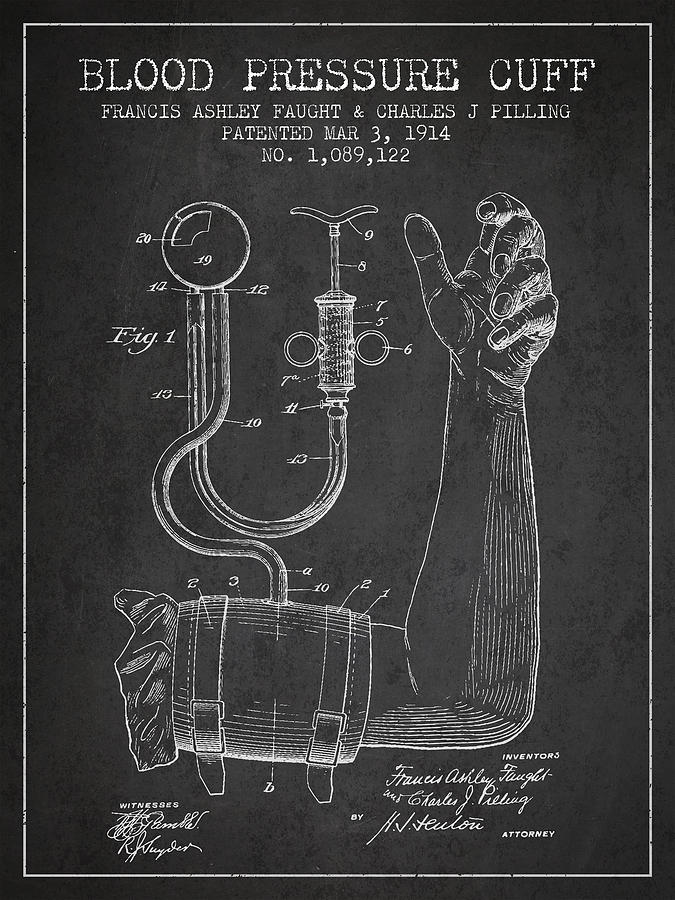 Medical Device Drawing - Blood Pressure Cuff Patent From 1914 by Aged Pixel