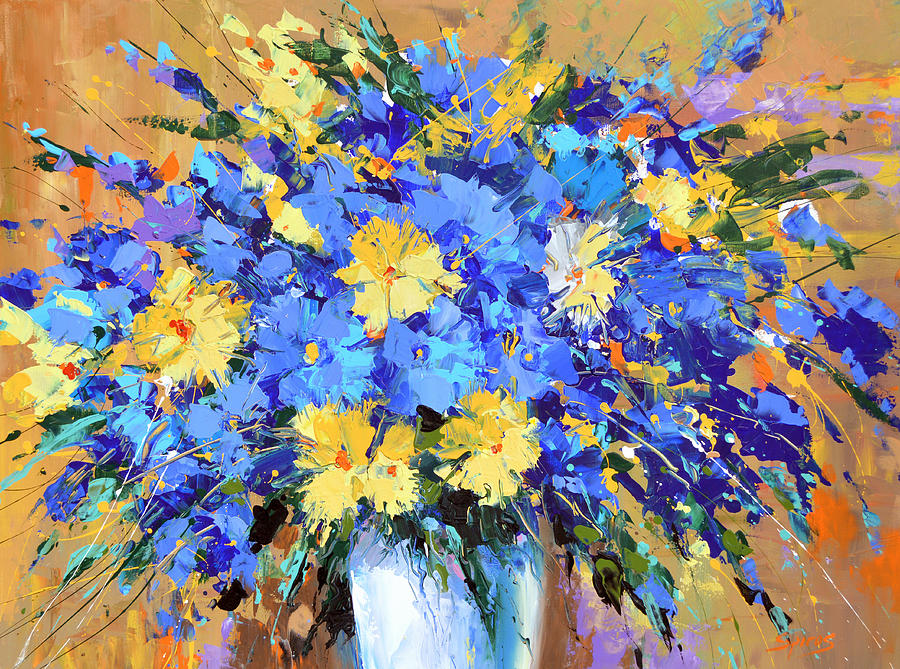Blue flowers painting by dmitry spiros for Blue paintings on canvas