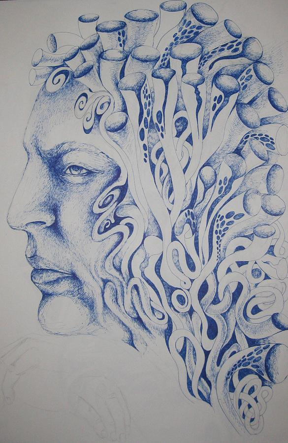 Blue Drawing by Moshfegh Rakhsha