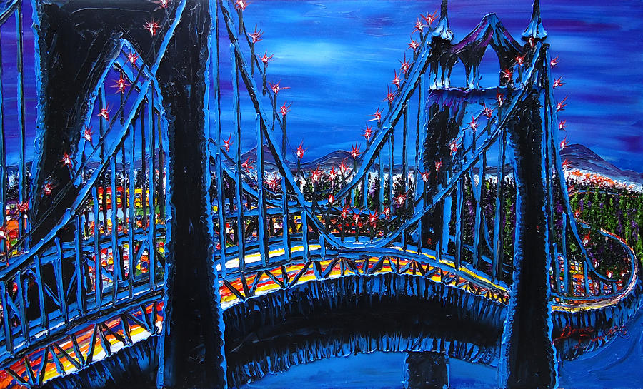 Blue Night Of St. Johns Bridge 12 Painting by Portland Art Creations