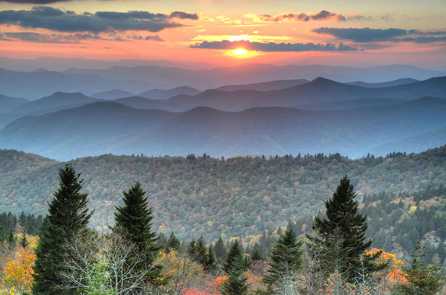 Blue Ridge Mountains Sunset Photograph by Mary Anne Baker
