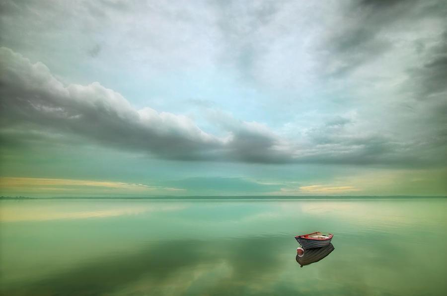 Calm Photograph - Boat... by Krzysztof Browko
