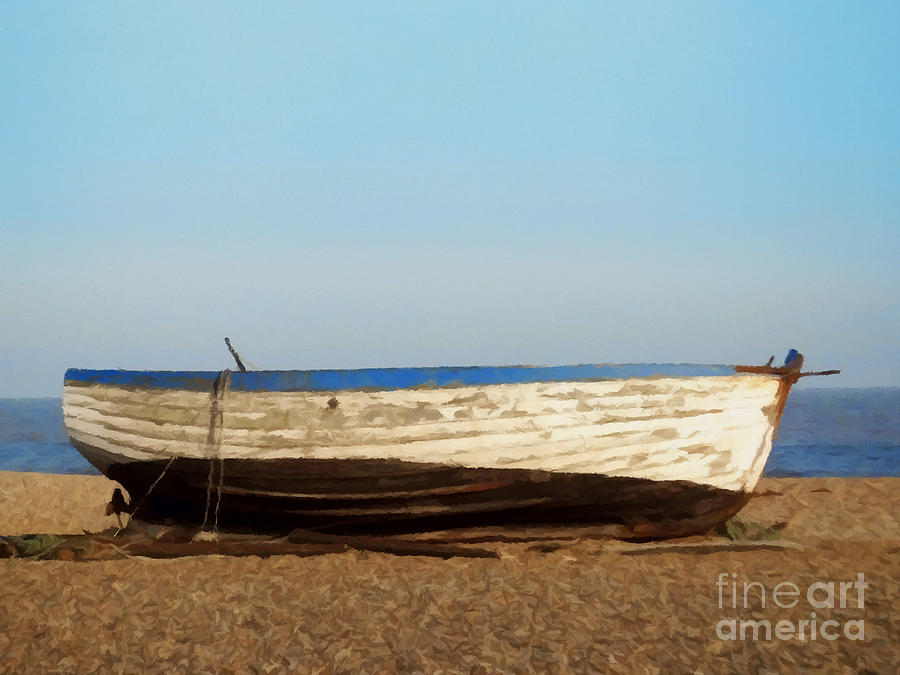 Boat Painting - Boat On Shore 02 by Pixel  Chimp