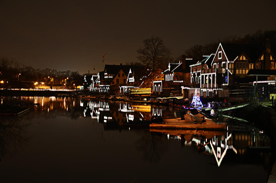 Boathouse Photograph - Boathouse Row Lights by Bill Cannon