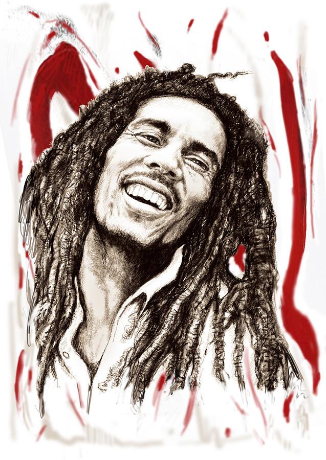 Bob Marley Colour Drawing Art Poster Painting By Kim Wang