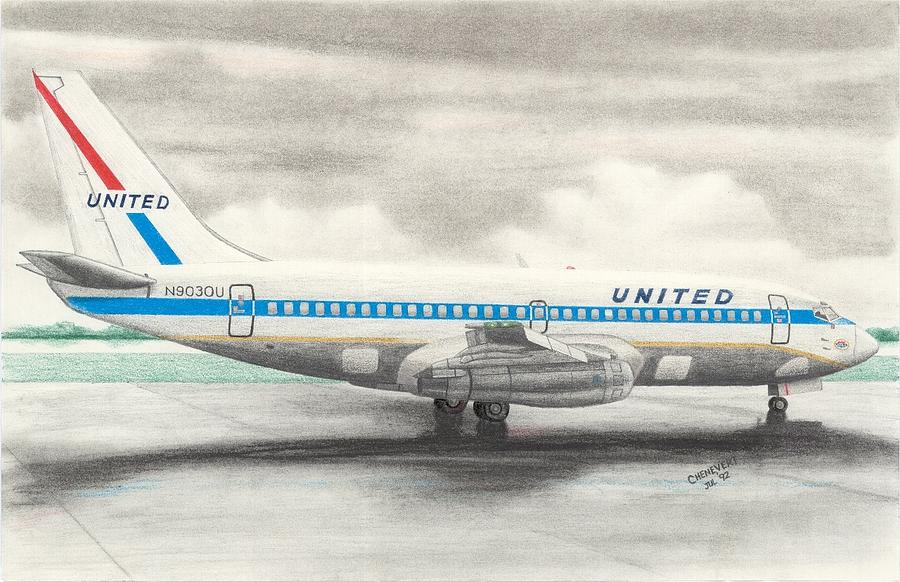 Boeing 737-200 Drawing by Marc Chenevert