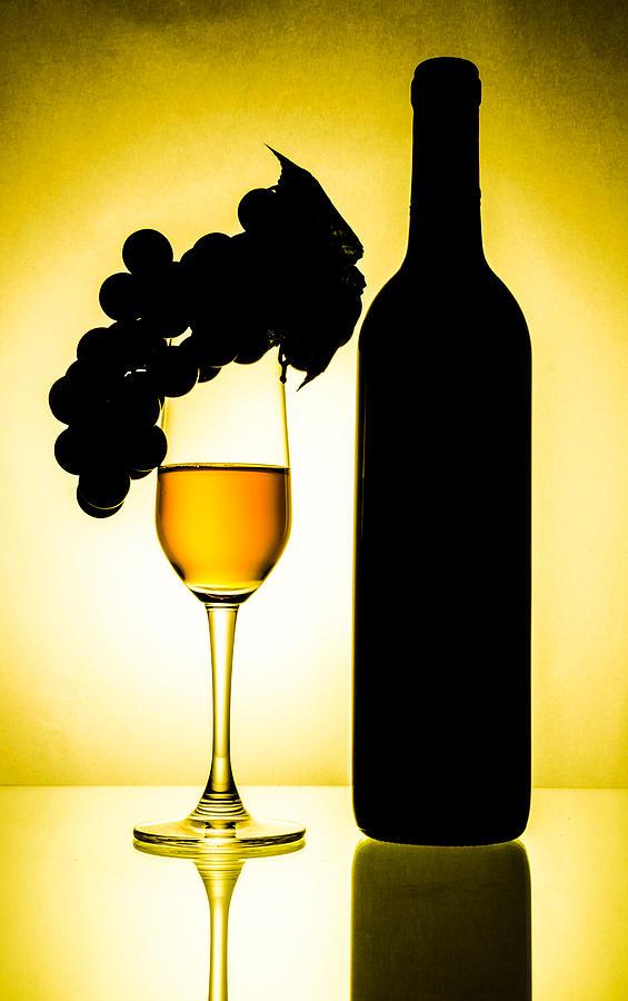 Glass Glass Art - Bottle And Wine Glass by Sirapol Siricharattakul