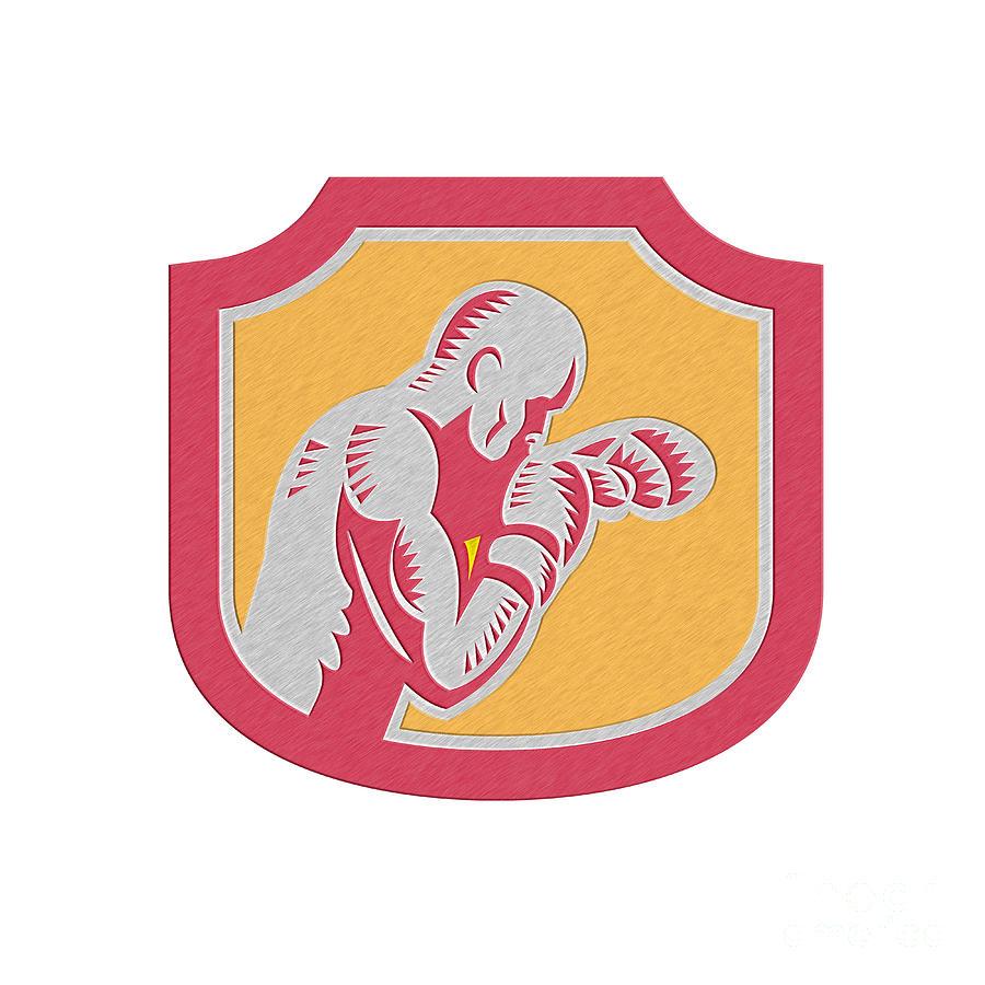 Metallic Digital Art - Boxer Boxing Jabbing Punch Side Shield Retro by Aloysius Patrimonio