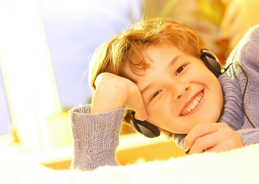 Bedroom Photograph - Boy Listen To Music by Michal Bednarek