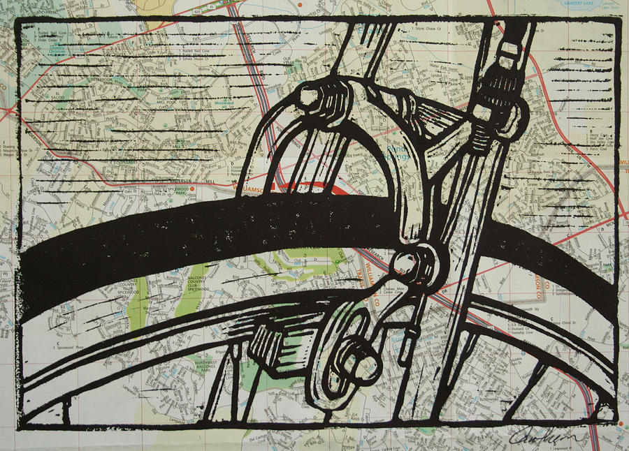 Printmaking Drawing - Brake On Map by William Cauthern