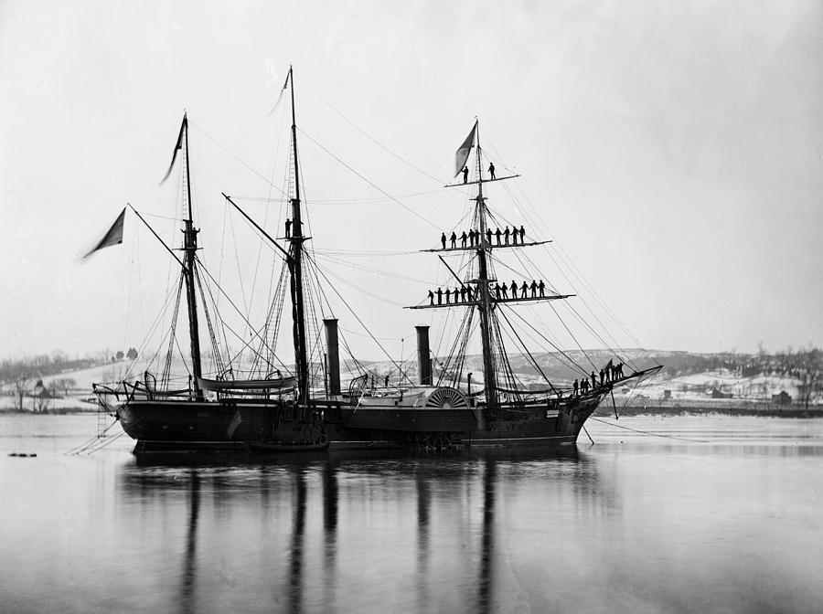 1863 Photograph - Brazilian Steamship, 1863 by Granger