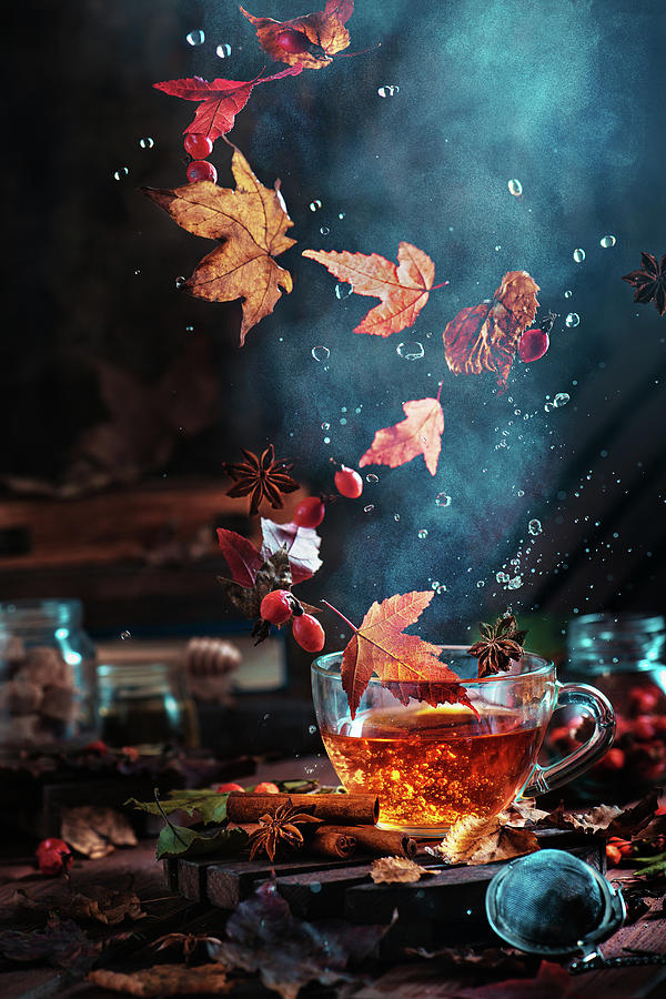 Leaf Photograph - Briar Tea With Autumn Swirl by Dina Belenko