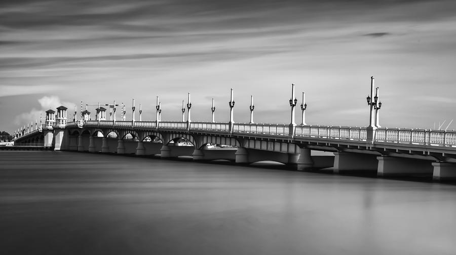 Black And White Photograph - Bridge Of Lions by David Mcchesney